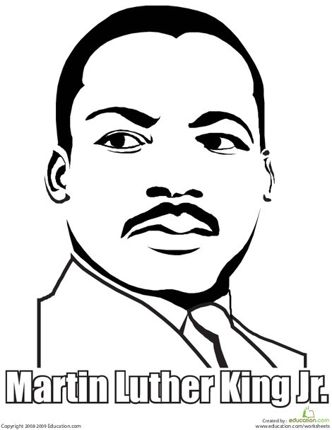 First Grade Holidays Worksheets: Martin Luther King, Jr. Coloring Page