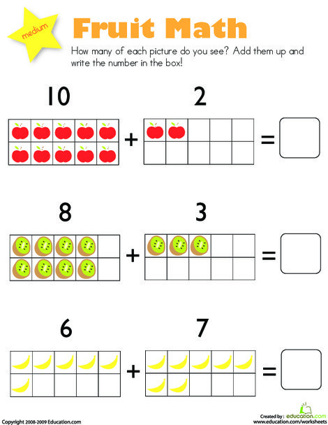 Kindergarten Math Worksheets: Addition: Fruit Math