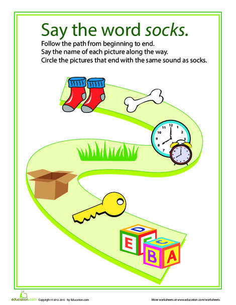 Kindergarten Reading & Writing Worksheets: Ending Sounds Path: X