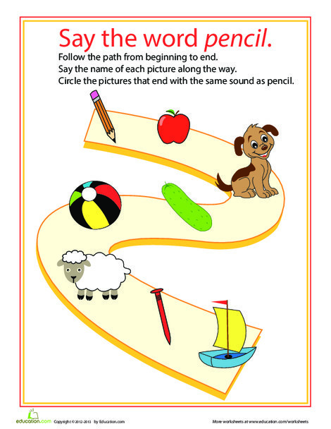 Kindergarten Reading & Writing Worksheets: Ending Sounds Path: L