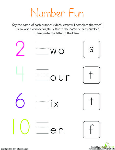 Kindergarten Reading & Writing Worksheets: Write the Missing Letter: Numbers