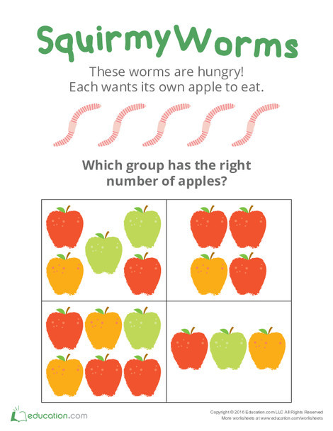 Preschool Math Worksheets: Squirmy Worms: Practicing Counting