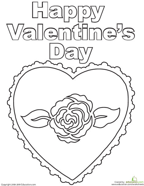 First Grade Holidays Worksheets: Happy Valentine's Day Coloring Page
