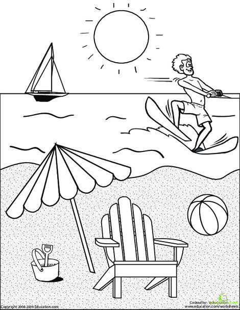 First Grade Coloring Worksheets: Color the Beach Scene