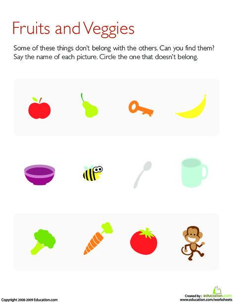 Preschool Math Worksheets: What Doesn't Belong?: Fruits and Veggies