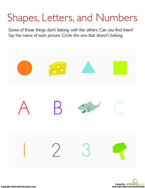 Preschool Math Worksheets: What Doesn't Belong?: Shapes, Letters, and Numbers
