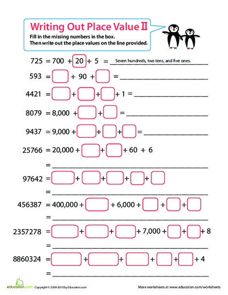Second Grade Math Worksheets: Practice Place Value
