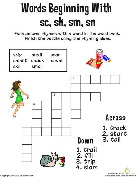 First Grade Reading & Writing Worksheets: Consonant Crossword: Words Beginning with Sc, Sk, Sm, Sn