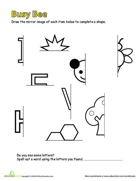 Second Grade Math Worksheets: Drawing Mirror Images: Busy Bee