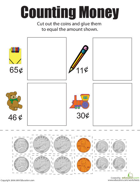 First Grade Math Worksheets: Counting Money II