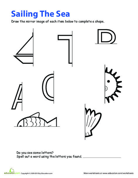 Second Grade Math Worksheets: Symmetry Coloring Page
