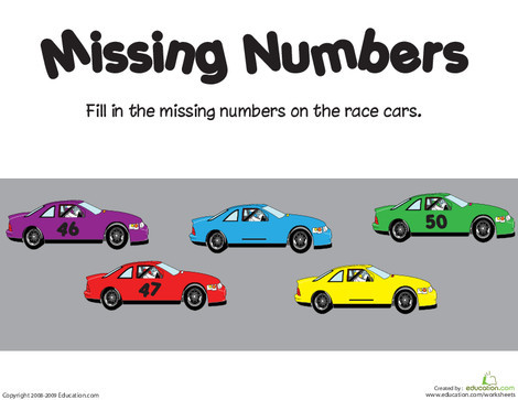 First Grade Math Worksheets:  Fill in the Missing Race Car Numbers