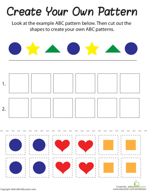First Grade Math Worksheets: Shape Patterns