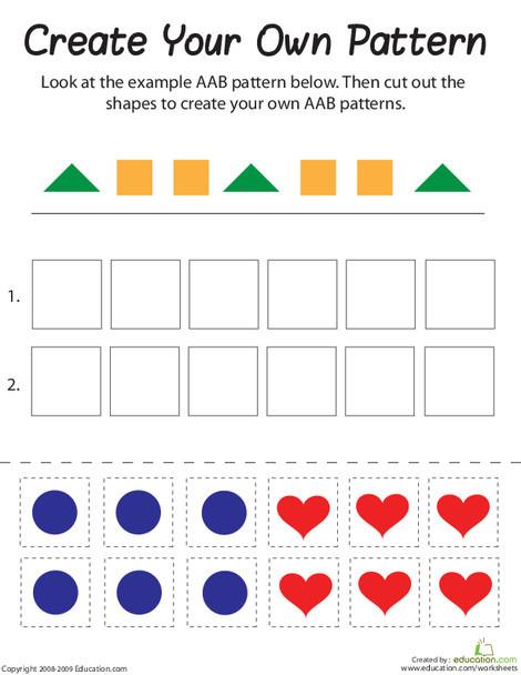 First Grade Math Worksheets: AAB Pattern
