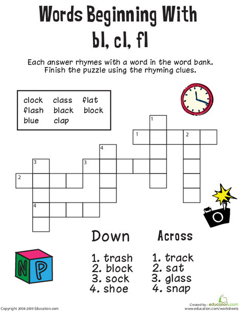 First Grade Reading & Writing Worksheets: Consonant Crossword: Words Beginning with Bl, Cl, Fl