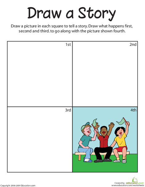 First Grade Reading & Writing Worksheets: Draw a Sequence Story