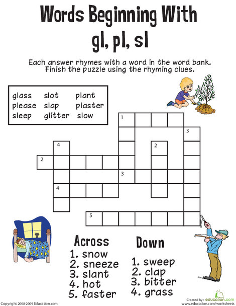 First Grade Reading & Writing Worksheets: Consonant Crossword: Words Beginning with Gl, Pl, Sl