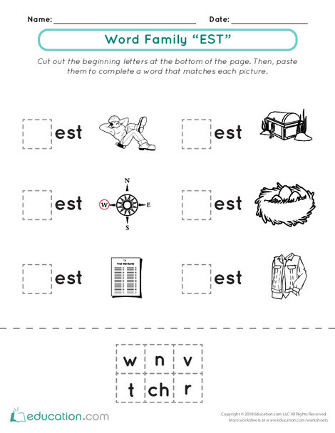 """First Grade Reading & Writing Worksheets: Word Family Practice: """"Est"""" Words"""
