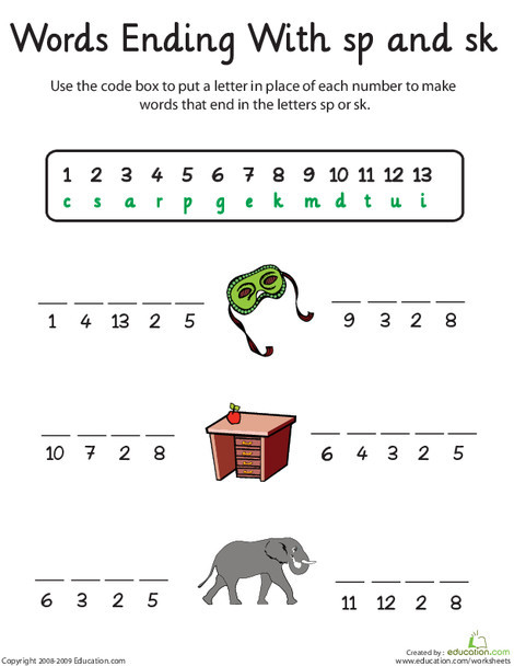 First Grade Reading & Writing Worksheets: Word Endings: -Sp and -Sk