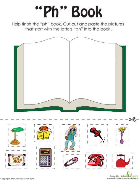 """First Grade Reading & Writing Worksheets: """"Ph"""" Words: A Word Family Book"""