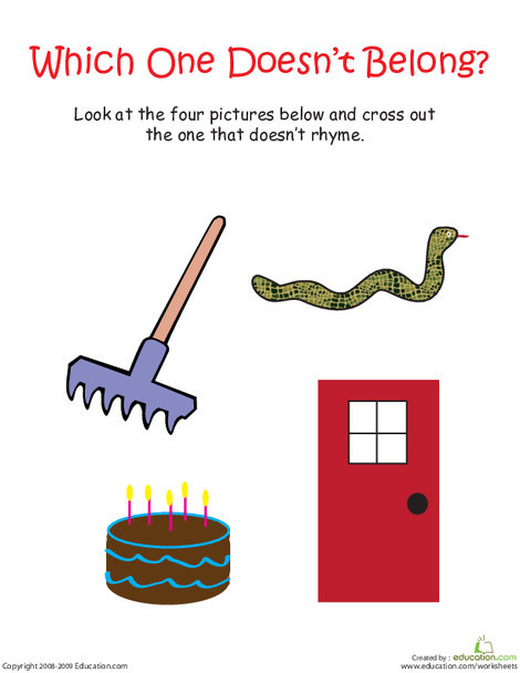 """Kindergarten Reading & Writing Worksheets: Odd Word Out: Rhyming Words With """"Rake"""""""