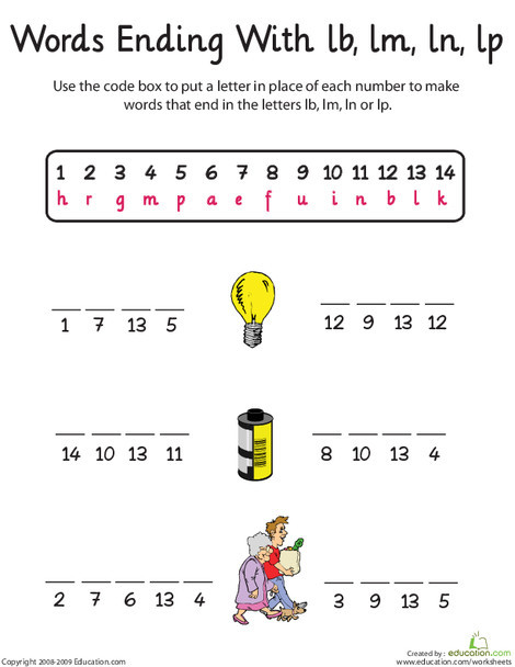 First Grade Reading & Writing Worksheets: Word Endings