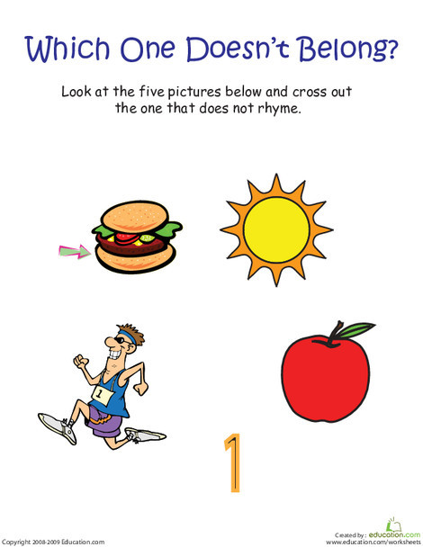 "Kindergarten Reading & Writing Worksheets: Words That Rhyme with ""Sun"": Which One Doesn't Belong?"