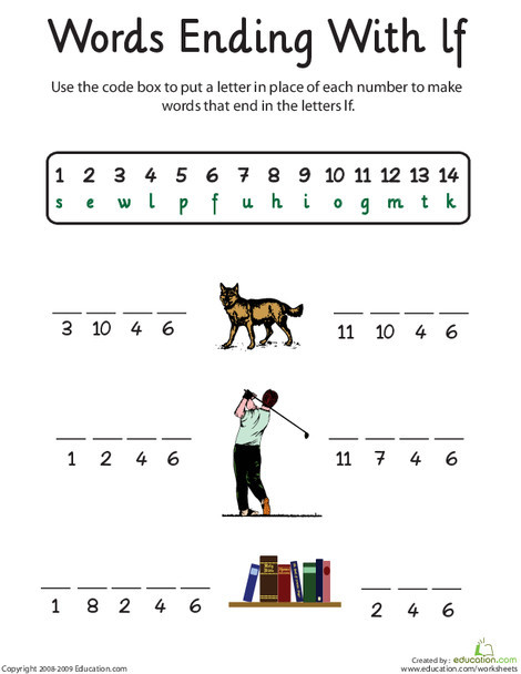 First Grade Reading & Writing Worksheets: Words Ending in Lf