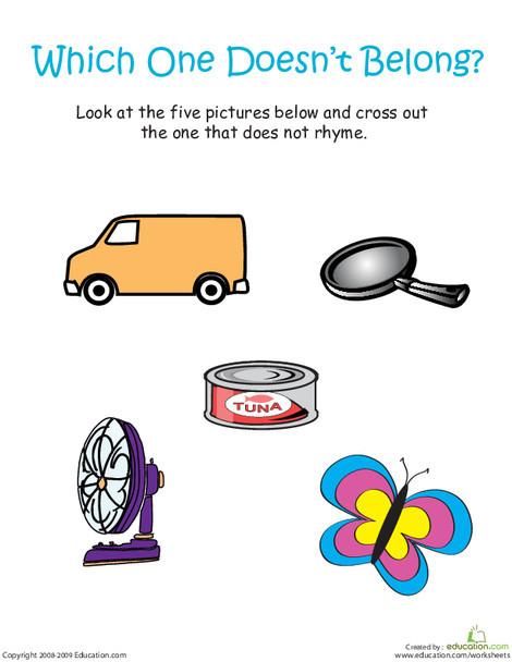 "Kindergarten Reading & Writing Worksheets: Odd Word Out: Rhyming Words With ""Van"""