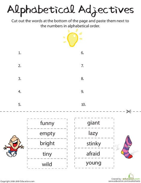First Grade Reading & Writing Worksheets: Alphabetical Adjectives