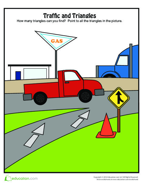 Preschool Math Worksheets: Finding Triangles in Traffic