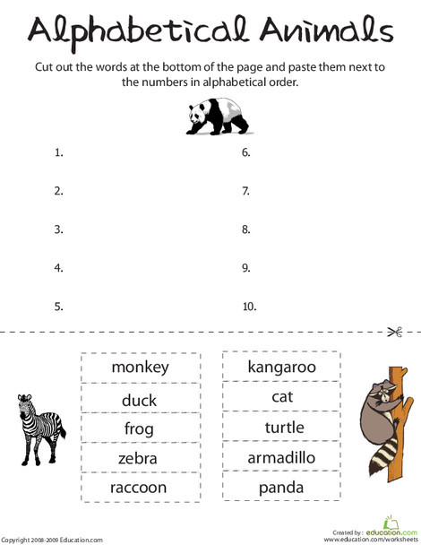 First Grade Reading & Writing Worksheets: Alphabetical Animals
