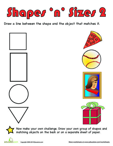 Preschool Math Worksheets: Shapes 'n' Sizes II