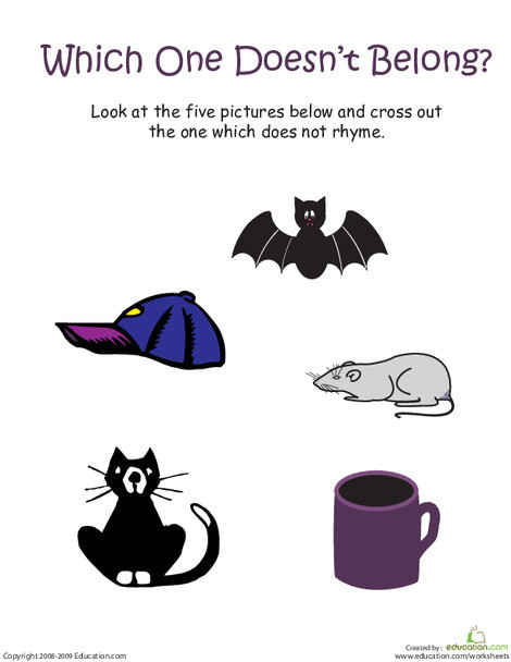 "Kindergarten Reading & Writing Worksheets: Words That Rhyme with ""Bat"": Which One Doesn't Belong?"