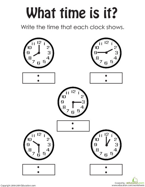 First Grade Math Worksheets: Telling the Time