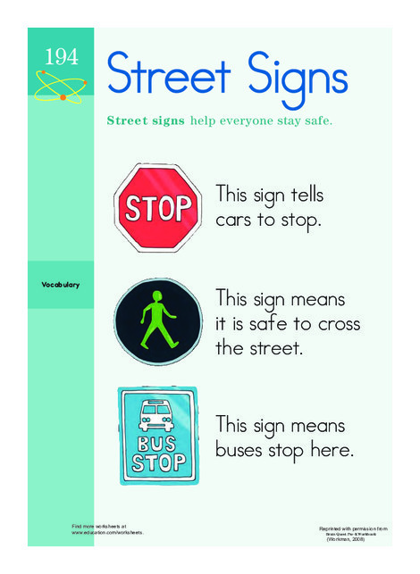 Preschool Social studies Worksheets: Street Sign Savvy