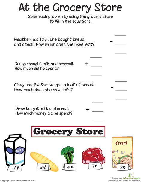 First Grade Math Worksheets: At the Grocery Store: Addition and Subtraction