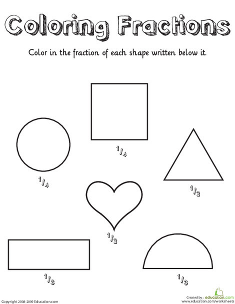 First Grade Math Worksheets: Coloring Shapes: Fractions