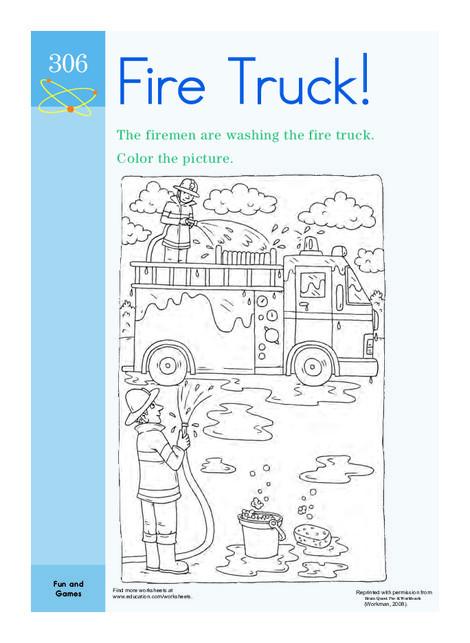 Preschool Coloring Worksheets: Color the Fire Truck!