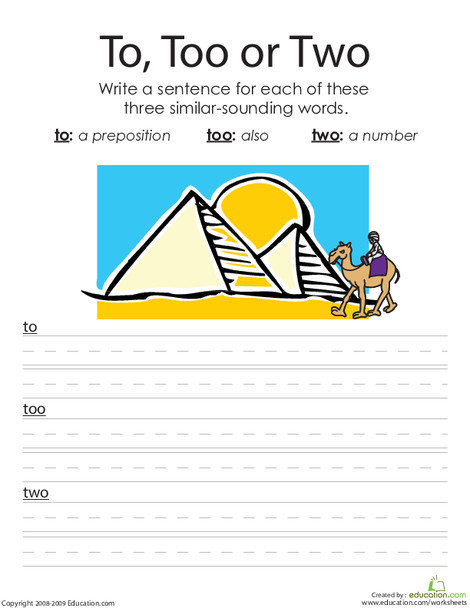 """First Grade Reading & Writing Worksheets: """"To"""", """"Two"""" and """"Too"""": Writing Homophones"""