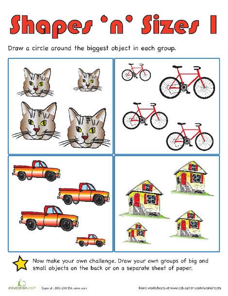 Preschool Math Worksheets: Shapes 'n' Sizes I