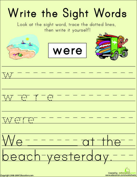 """First Grade Reading & Writing Worksheets: Write the Sight Words: """"Were"""""""