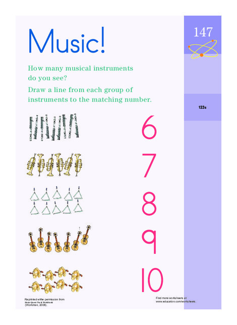 Preschool Math Worksheets: Counting Musical Instruments