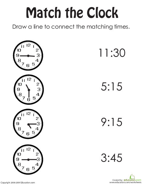 First Grade Math Worksheets: Rotary Clock Practice