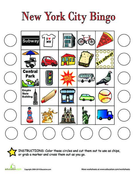 First Grade Offline games Worksheets: City Bingo: New York City