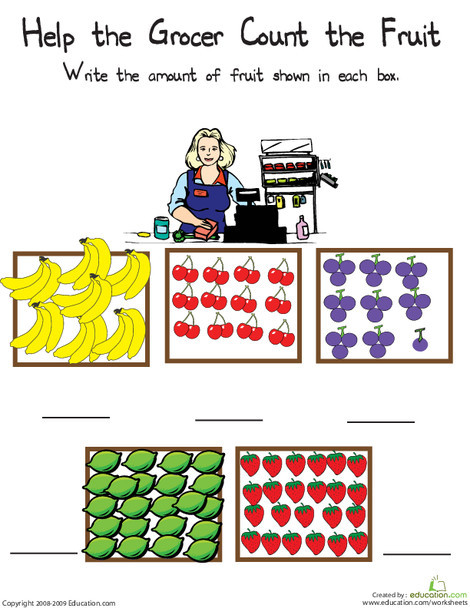 First Grade Math Worksheets: Counting Fruit: The Numbers 20 through 25