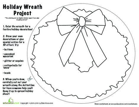 First Grade Arts & crafts Worksheets: Christmas Wreath Craft