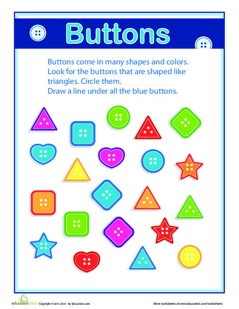 Kindergarten Math Worksheets: On the Button: Grouping and Sorting
