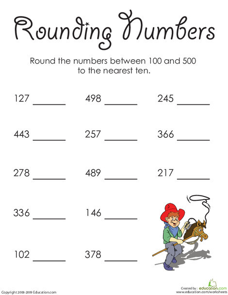 First Grade Math Worksheets: In the High Hundreds: Rounding Numbers
