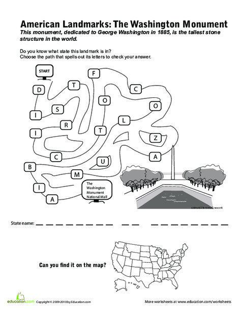 Third Grade Social studies Worksheets: National Landmarks: Washington Monument